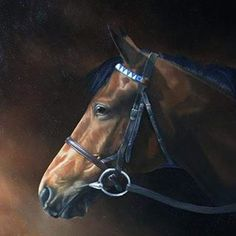 One of my older commissions,  this of Unfawan #oilpainting #equineart #racingart #sportingart #thoroughbred #racehorse #contemporaryart #lisamillerart