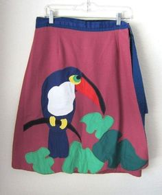 Super cute and fun Alfredo's Wife brand appliqued twill wrap around skirt