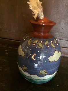 Vintage Candle with Wick,  liquid fuel, Redware decorated with Noah Ark scene by Earthen Vessel, 1990