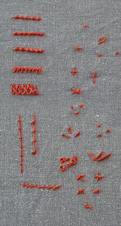 Knotenstiche Übersicht der Stickstiche