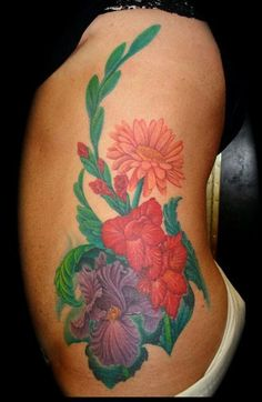 40fd0a1fe139d Side flowers Custom Tattoo, Tattoo Studio, Cool Artwork, Floral Tattoos,  Gladiolus,