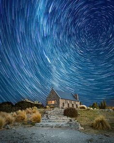 Long exposure photograph of star trails above the Church of the Good Shepherd in New Zealand. Pretty Pictures, Best Funny Pictures, Cool Photos, Amazing Photos, What A Wonderful World, Landscape Photography, Nature Photography, Star Trails, The Good Shepherd