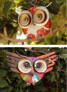"These are really cool owls made from bottle caps, jar lids, CDs and other ""stuff"""