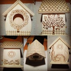 Birdhouse #WIP Several views of the wood burning work in progress on our little birdhouse. #wood #woodburned #woodburning #birdhouse #pyrography #pyrographyart #handmade #artisignis #wip
