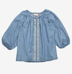 Marjorie Top, chambray top for girls   Pink Chicken