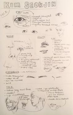 """Drawing Tips BTS Bangtan Sonyeondan Rapmon RM Kim Namjoon drawing in detail - """"ppl have been asking for these bts face analyses i posted on my old acc but I deactivated that one so here they are for anyone who finds them helpful Drawing Tips, Drawing Reference, Drawing Techniques, Sketch Drawing, Figure Drawing, Drawing Ideas, Fanart Bts, Bts Face, Kpop Drawings"""