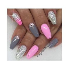 31 Trendy Nail Art Ideas for Coffin Nails ❤ liked on Polyvore featuring beauty products, nail care and nail treatments