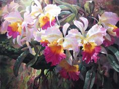 Cattleya Magnificent - by artist Leon Roulette at Gallery 1870 Art Floral, Watercolor Flowers, Watercolor Art, Orchid Drawing, Orchids Painting, Flora Flowers, Cow Art, John Muir, Impressionism