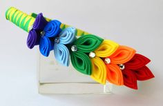 Kanzashi Fabric Flower headband.Rainbow by HairOrnamentsForYou
