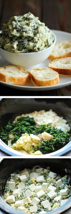 Slow Cooker Spinach and Artichoke Dip – Simply throw everything in the crockpot for the easiest, most effortless spinach and artichoke dip! Slow Cooker Spinach and Artichoke Dip – Simply… Think Food, I Love Food, Slow Cooker Recipes, Cooking Recipes, Chef Recipes, Crock Pot Cooking, Cooking Time, Appetizer Recipes, Dip Appetizers
