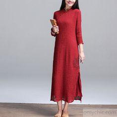 Long sleeves linen dress-2016 burgundy retro tunic linen dress three quarter sleeve spring dresses sundress