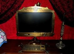 Saint motorbikes: Victorian steampunk Monitor keyboard and cam set by Jeff Yarrington