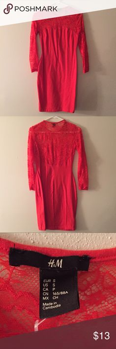 H&m red bodycon dress perfect for v-day ❤️ Like new H&m red bodycon dress with lace detail. In great condition. Worn once for Christmas but I'm not really a red person. H&M Dresses Long Sleeve