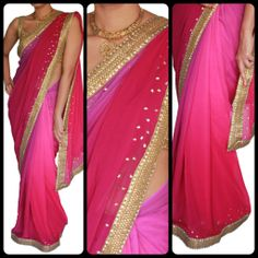 WIne color Multishaded saree with Kundan/Antique work.