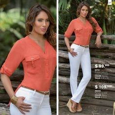 Summer Outfits, Casual Outfits, Pants Outfit, Spring Collection, T 4, Casual Chic, Blouse Designs, My Spring, White Jeans