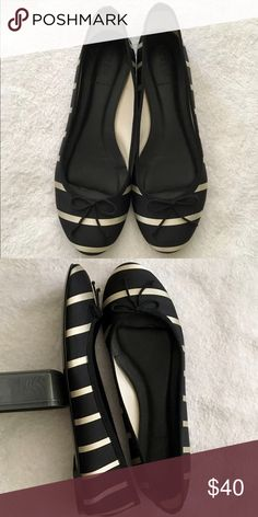J. Crew Classic Flats Satin black and ivory striped flat. The fit runs true to size. Worn only a few times. No stains, pulls or tears on the fabric! Looks new J. Crew Shoes Flats & Loafers
