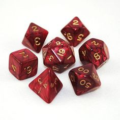 Set of 7 Pearled Red Dice