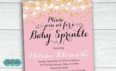 Baby Sprinkle Invitation Gold Confetti Pink by TresCutiesDesigns