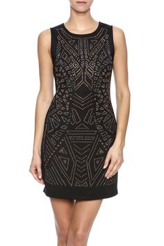 Black sleeveless embellished shift dress with exposed back zipper.   Black Embellished Dress by Dex. Clothing - Dresses - Night Out Dallas, Texas Texas