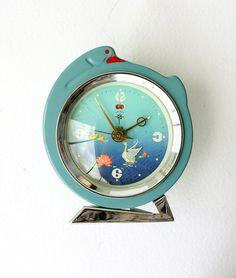 Vintage alarm clock with moving swan Wind up by VintageCorner42