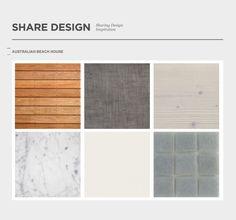 'Australian beach house' materials palette - timber flooring, stone, linen