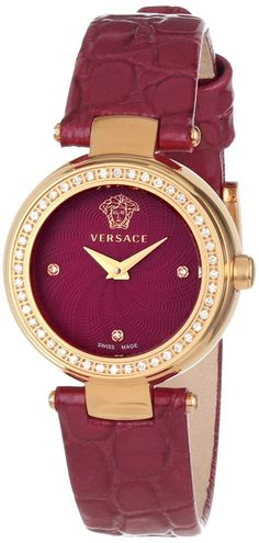 $3,110.00 Versace #Womens Mystique Rose Gold Ion-Plated, Stainless Steel, Sunray Dial, Red Patent Leather, Diamond #Watch