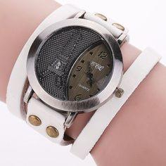 Vintage Tower Watch Genuine Leather Bracelet Watches Women WristWatch Quartz Watch