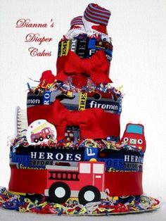 Fire Trucks Firemen Baby Diaper Cake Shower Gift or Centerpiece Created by Dianna's Diaper Cakes