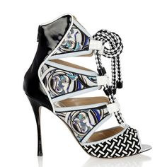 Nicholas Kirkwood: Patent-Leather and Printed Silk-Twill Sandal #fashion #shoes