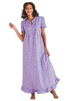 Dreams and Company Plus Size Ruffled long nightgown ♥ Plus Size Men, Plus Size Girls, Big And Tall Outfits, Plus Size Outfits, Women's Sleep Shirts & Nightgowns, Modest Fashion, High Fashion, Plus Size Sleepwear, Mens Big And Tall