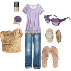 Beach day! I like the purple and lavender. Cute bag too.