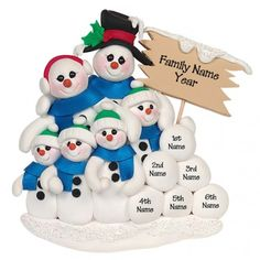 Snowman Family of 6 Personalized Ornament. This ornament and many more can be found at https://www.ornaments.com