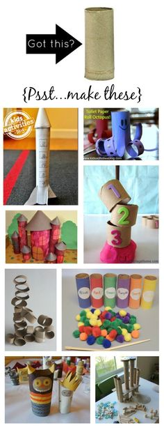 12 Toilet Paper Roll Crafts for Kids {Recycle those Toilet Paper Tubes! You are throwing these things away on a weekly basis and here are some ways to repurpose the empty toilet paper tubes as an activity for kids. Craft Activities For Kids, Preschool Crafts, Toddler Activities, Projects For Kids, Diy For Kids, Crafts For Kids, Time Activities, Art Projects, Toilet Paper Roll Crafts