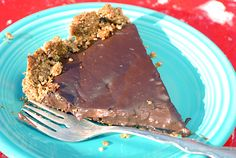 Chocolate Peanut Butter Tart with nut crust - gluten-free, dairy-free