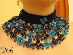 Poé gyöngyei - Éva Pálné - Picasa Web Albümleri Beaded Collar, Collar Necklace, Beaded Jewelry, Crochet Necklace, Chokers, Jewelry Making, Beads, Projects, Fashion