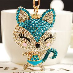 Luxurious Full Rhinestones Fox keychains/Bag Charm