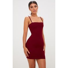 Burgundy Straight Neck Bodycon Dress (49 BRL) ❤ liked on Polyvore featuring dresses, red dress, layered dress, burgundy cocktail dress, form fitting red dress and burgundy red dress