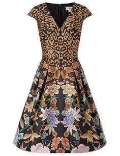 Black Leopard Lilla Structured Dress Temperley London
