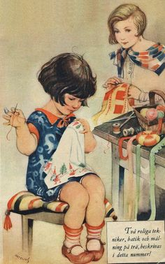 Illustration by Helge Artelius, from 'Husmodern', no. 49 (1928).