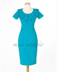 Pleated 50s joan Pencil dress Mad men Reproduction by missnancie, $145.00