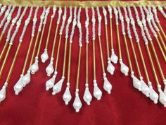 Angelic Gold Glass and White Pearl Long 5 inch Beaded Fringe Decorator Trim