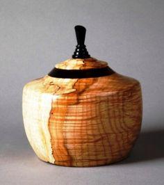 Curly Maple, Cocobolo, Ebony Lidded Bowl.