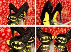 d6b916d90 Women's Sparkly black yellow Glitter Batman Heels Superhero shoes wedding  bride gift