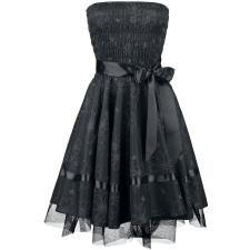 Black Satin Floral Dress - emp