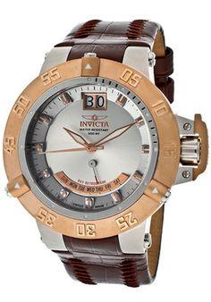 Invicta Watch 1576 Men's Subaqua Noma III Silver Dial Brown Genuine Leather | eBay