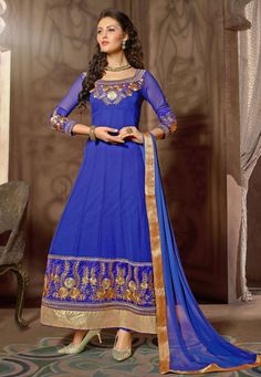 Blue Faux Georgette Abaya Style Churidar Kameez: KAH614