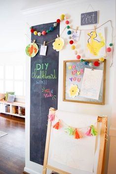 DIY Chalkboard Wall - This goes up in under an hour and costs less than $30! Chalkboard Wall by @Kassa. #PNpartner