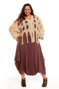 Oversized quikry knit overtop with cut away circle holes and mid sleeve-layer over a plain dress for a distinguished quikry laid back look Lagenlook clothing, Quirky clothing, stylish, unique, layering clothing, cover up clothing, made in Italy clothing, plus size clothing, online clothing shop, boho hippie, designers,