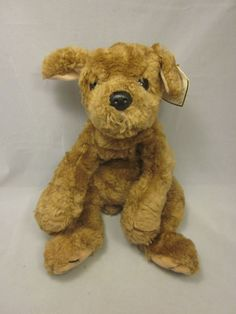 "TY Biscuit Puppy Dog Stuffed Animal Plush 16"" Laying Down Retired Tag #Ty"