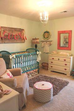 Sweet rustic nursery!! Love that name board.